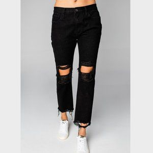 Rosco High-Waisted Distressed Boyfriend Jeans